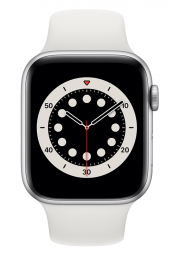 Apple Watch 6 GPS, 44mm Silver Aluminium Case with White Sport Band